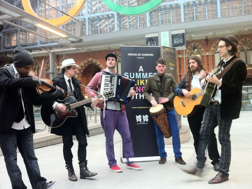 All together at the concourse at Kings Cross St. Pancras