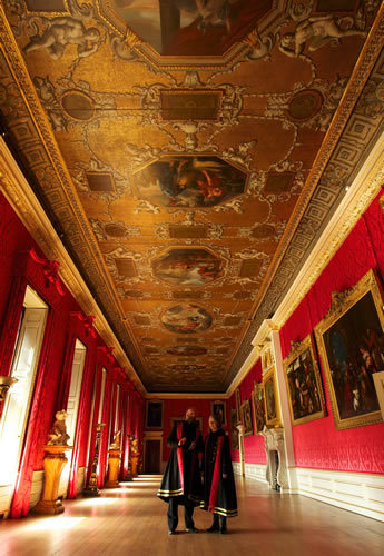 The King's Gallery at Kensington Palace. Built for William III, it was finished in 1700, and transformed with red damask in 1725 by William Kent for George I