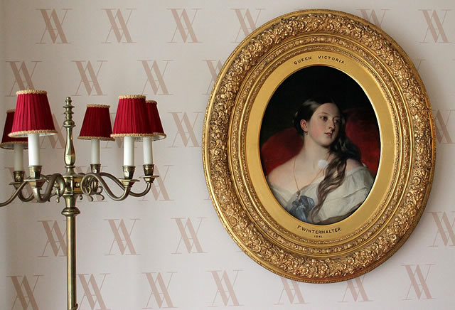 "The famous, ""sexy"" Franz Xaver Winterhalter portrait of Queen Victoria, aged 24, hangs in the Love Room in Kensington Palace. Aparantly, it was Prince Albert's favourite."