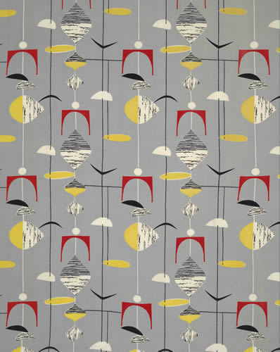 Mobiles, 1952. Roller-printed rayon. Designed by Marian Mahler and manufactured by David Whitehead Ltd. Collection of Jill A Wiltse and H Kirk Brown
