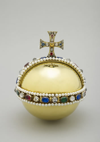 Mary II's Orb. William III and Mary wanted a joint coronation, so there were several smaller versions of the Crown Jewels created for Mary to hold.