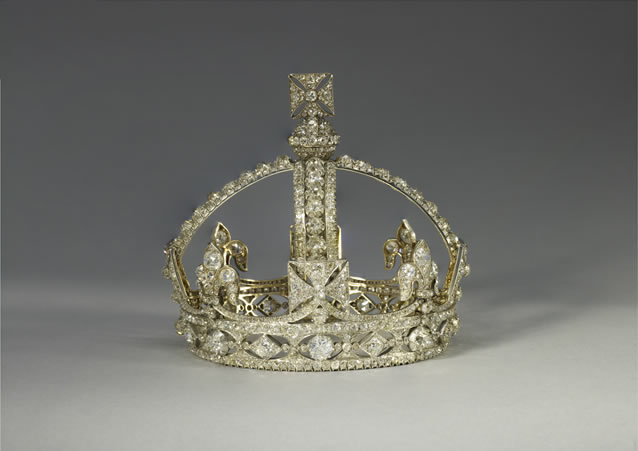 Queen Victoria's small diamond crown; the smallest in the collecton. It has no coloured stones, to match her mourning dress.