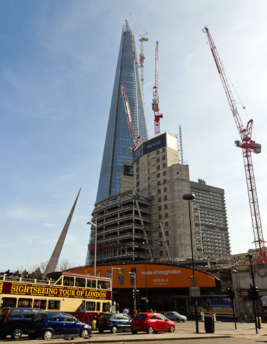 The view from the ground; the builders are a tiny speck at the top.