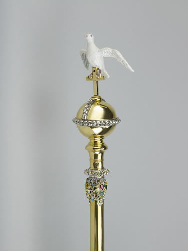 Sovereign's Sceptre with Dove, made in 1661. The dove symbolises the Holy Spirit. It's one of two sceptres held during the coronation ceremony.