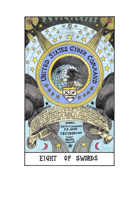 Suzanne Treister, Hexen 2.0. Tarot, Eight of Swords. US CyberCommand