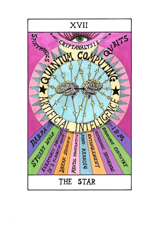 Suzanne Treister, Hexen 2.0. Tarot, XVII The Star - Quantum Computing - AI