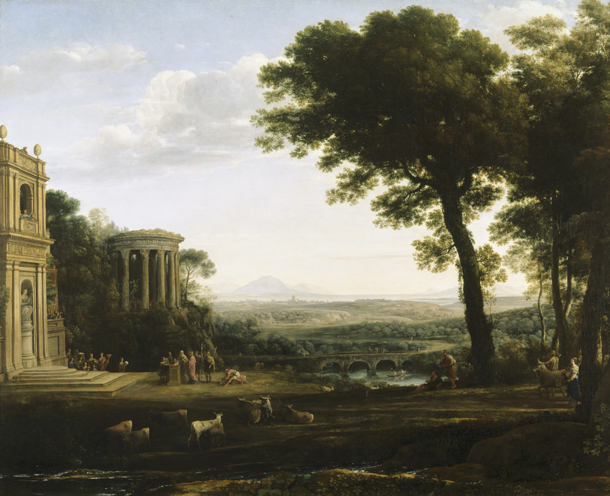 USB353590  Credit: The father of Psyche sacrificing at the Temple of Apollo (oil on canvas) by Claude Lorrain (Claude Gellee) (1600-82) Anglesey Abbey, Cambridgeshire, UK/ National Trust Photographic Library/John Hammond/ The Bridgeman Art Library Nationality / copyright status: French / out of copyright 174 x 221 cm PLEASE NOTE: The Bridgeman Art Library works with the owner of this image to clear permission. If you wish to reproduce this image, please inform us so we can clear permission for you.