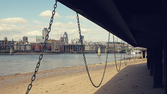 Underneath South Bank in chains, by Sophie Garrett