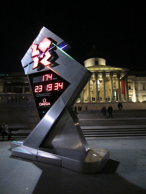 And finally...  the Olympic clock itself in Trafalgar Square, snapped back in February, in Fe, by alistairj