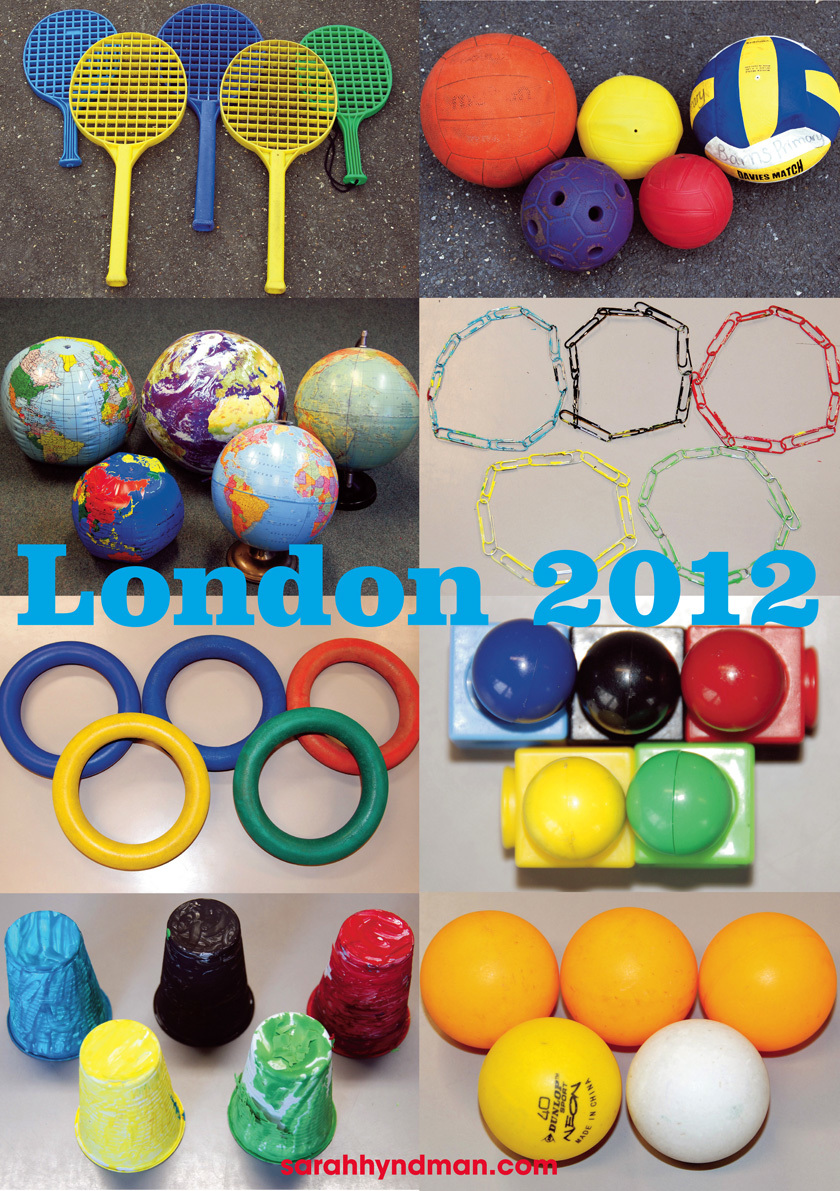 Everyday Olympic Rings created by kids from Class 3O at Barnes Primary School with Sarah Hyndman