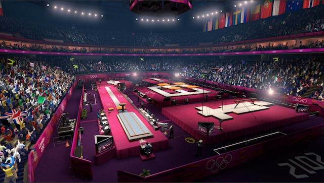 The gymnastics arena.
