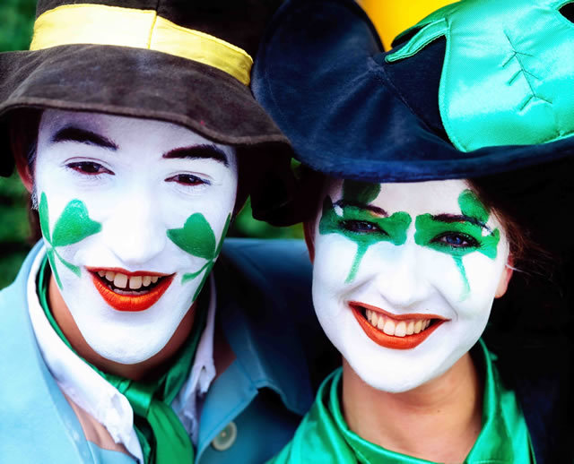Smiley painted faces for St Patrick's Day in Dublin