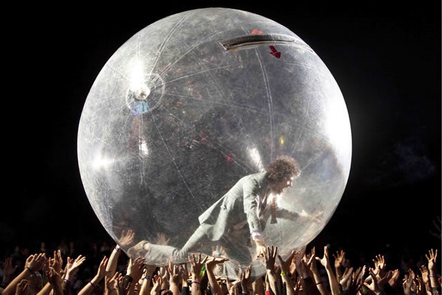 The Flaming Lips zorbing at Bestival