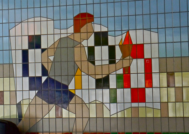 The Olympic flame & flag in tiles on Olympic Way, Wembley by ak.neve