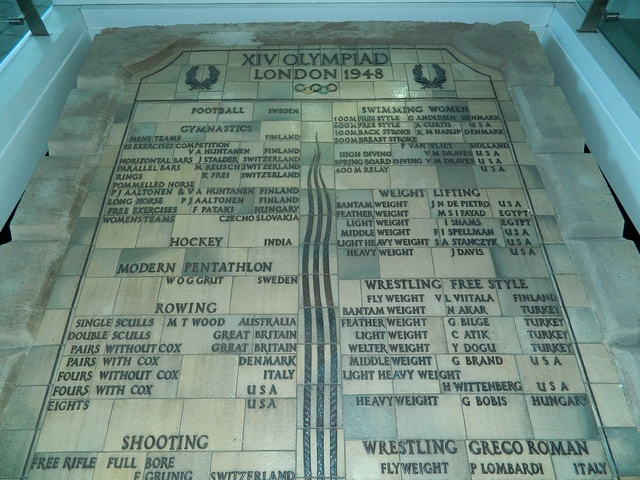 1948 Olympic medal tablets preserved at Wembley Stadium by fenster_5