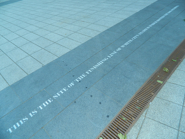 The White City Stadium finish line remembered outside BBC Media Centre by fenster_5