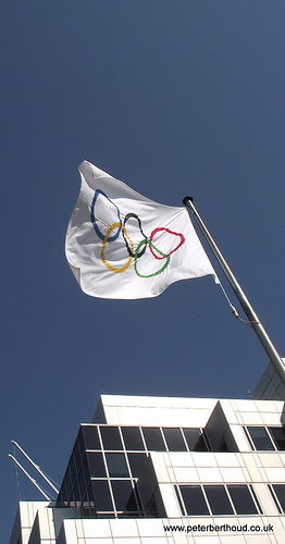 Olympic flag flying outside BBC Media Centre by Peter Berthoud