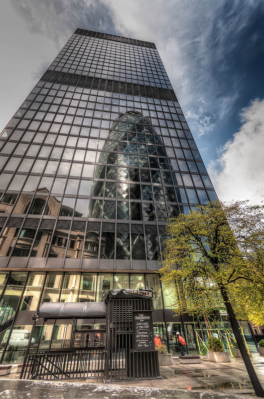 The Gherkin in full reflected glory, by tonybill