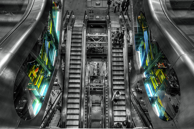 Escalators are at the core of the famous Lloyds of London interior, by bobaliciouslondon