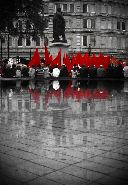Revolution red in Trafalgar Square on May Day, by jordi.martorell