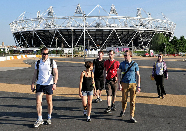 Tired but impressed walkers with Craig, our kind host on the Olympic Park by McTumshie