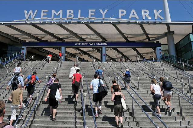 The team mount the stairs for a bit of Jubilee Line based cheating by McTumshie