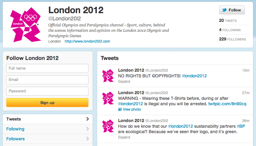Olympic Protestors Banned From Twitter, Launch New Spoof