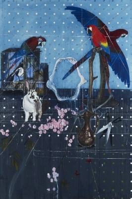 Damien Hirst, Three Parrots with Rabbit and Scissors. Courtesy White Cube.