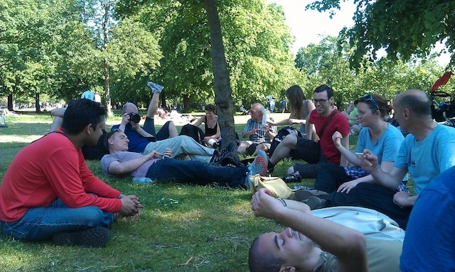 A welcome break in Victoria Park as we try to work out the quickest/best/easiest route to Stratford by Ben Thacker