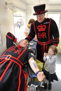 The Tower of London, more usually linked with villains and blood-shed than blood donation, today played host to a donation session for Tower of London residents (including Yeoman Warders, better known as Beefeaters) and employees as well as the general public with an emphasis on O- donations to boost blood stocks  ahead of the Olympics.