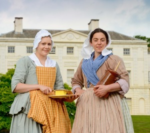 Dairy maids in front of Kenwood House ahead of the Kenwood Garden Party on Saturday 16 June 2012. Kenwood House will be restored as part of English Heritage's Caring for Kenwood programme of repairs and re-presentation. The HLF recently gave a grant of £3.9m towards the Caring for Kenwood programme.  