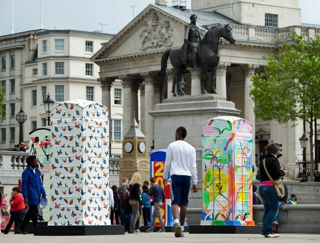 The boxes in Trafalgar Square. © BT ArtBox and Fiona Upton.