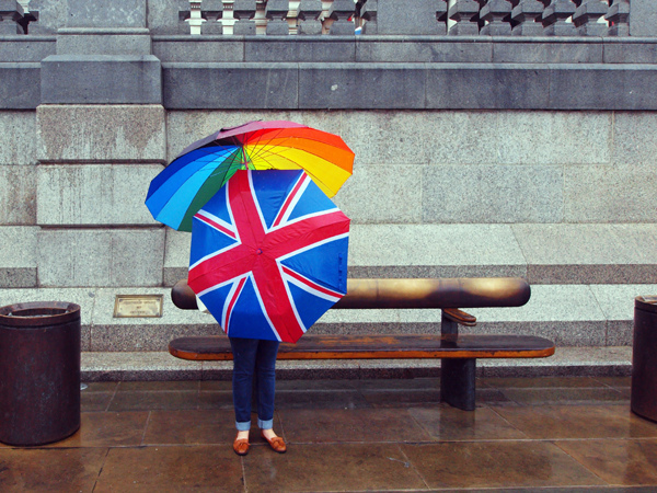 Two umbrellas, Trafalgar Square by Darren Lehane