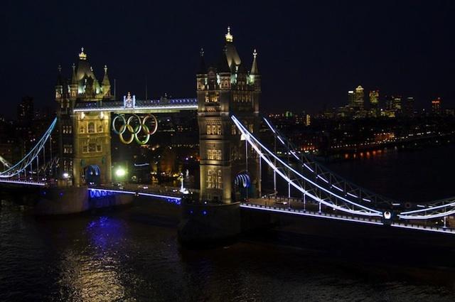 The rings at night.