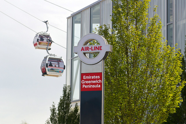 The cable car roundel outside Emirates Greenwich Peninsula