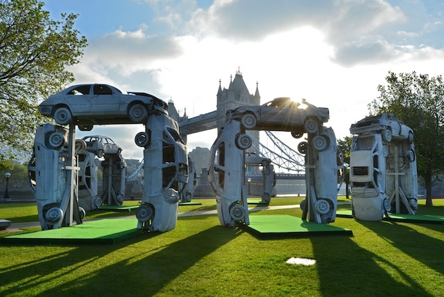 Citihenge – a recreation of Stonehenge made entirely from car parts, is unveiled today on London's Southbank by ŠKODA to launch their new Citigo model. PRESS ASSOCATION Photo. Picture date: Tuesday June 19, 2012. The giant sculpture provides Londoners with an urban meeting point to celebrate this evening's Summer Solstice. Photo credit should read: Matt Crossick/PA
