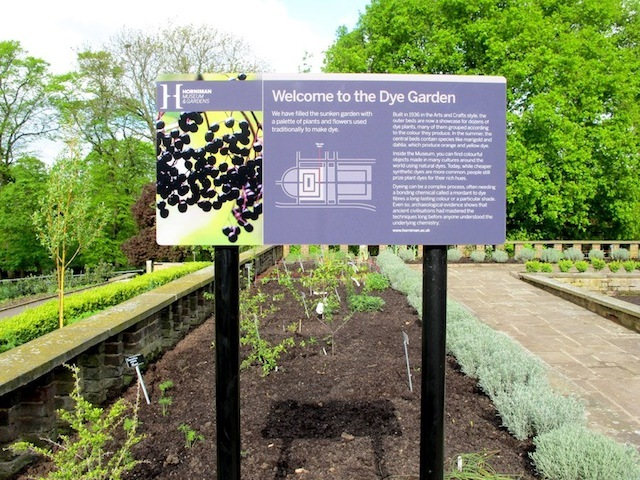 The entrance to the Dye Garden, one of our four display gardens - the others focus on food, materials and medicine.