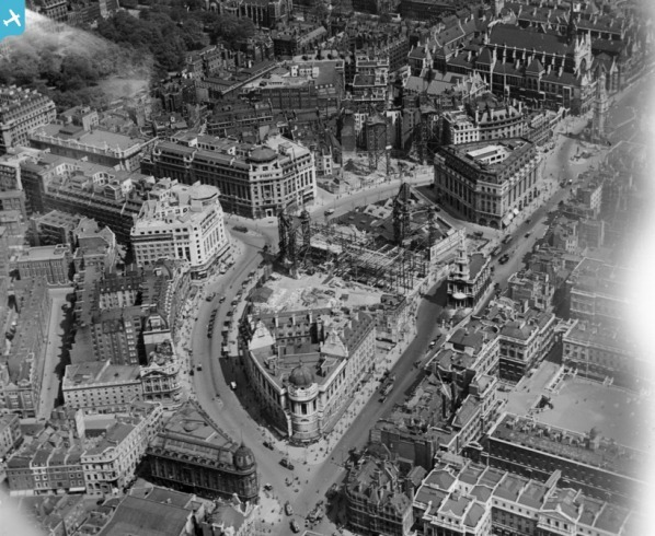 India House, Drury House and Bush House under construction on Aldwych, London, 1921