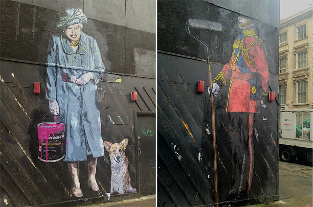Banksy-Style Queen And Soldier On New Oxford Street