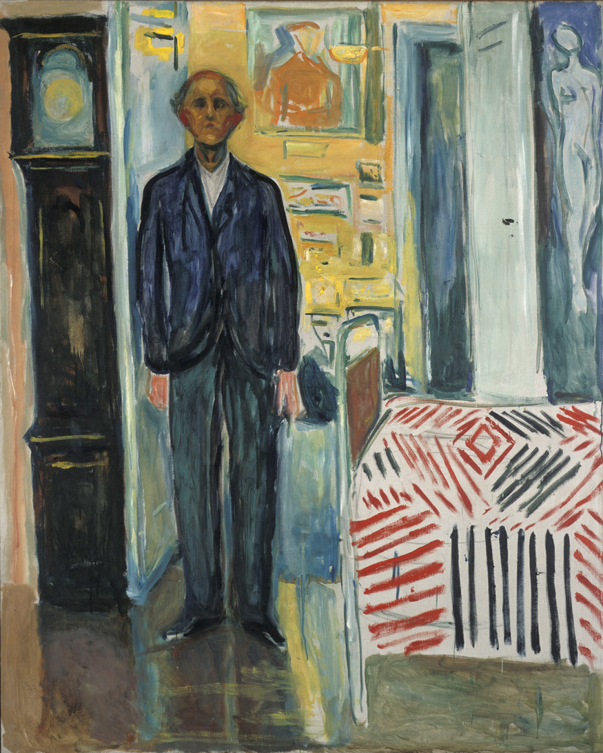 Self-portrait: between the clock and the bed by Edvard Munch