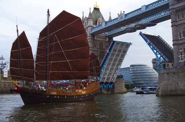 The rings raise with the bascules to allow tall-masted boats through Tower Bridge.