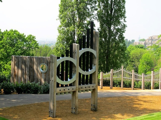 An instrument in the Sound Garden - there's also a xylophone wall, bat pipes, drainpipe drums and a spiral scraper.