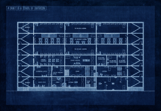 A Draft of a School of Inversion 2009, Blueprint. Courtesy of the artist and Maeil Dairies Co. Ltd. © The artist 2012.