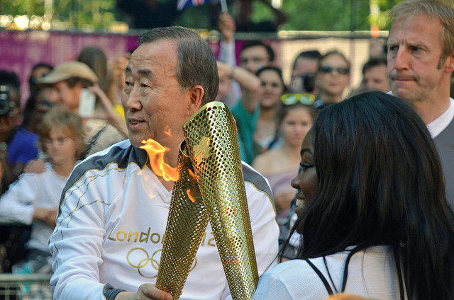 Ban Ki Moon, the UN Secretary General passes the Flame to Sedudzi Basoah-Acolatse on Birdcage Walk by Angryoffinchley