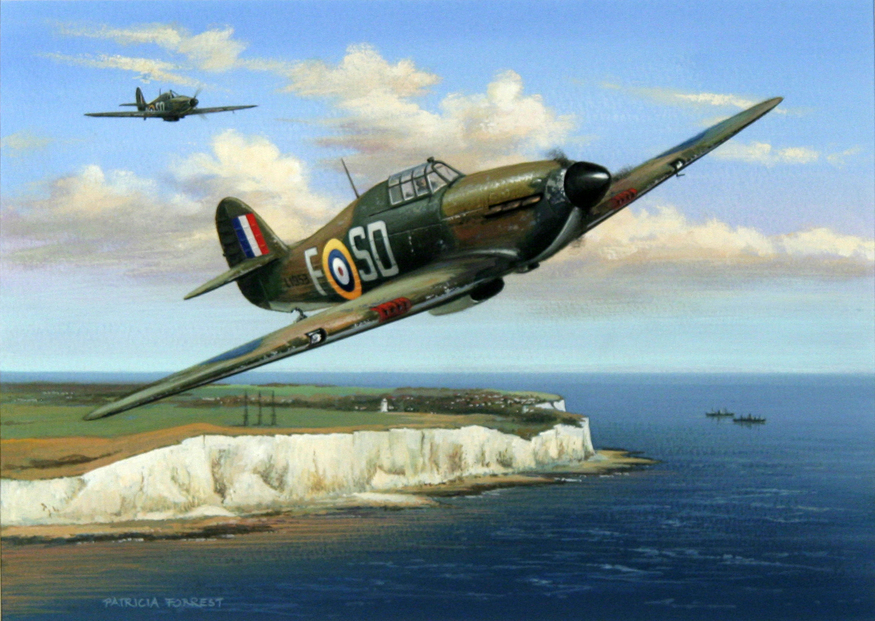 'Ace Ginger Lacey, 501 Sqn 1940' by Patricia Forrest. Courtesy Guild of Aviation Artists.