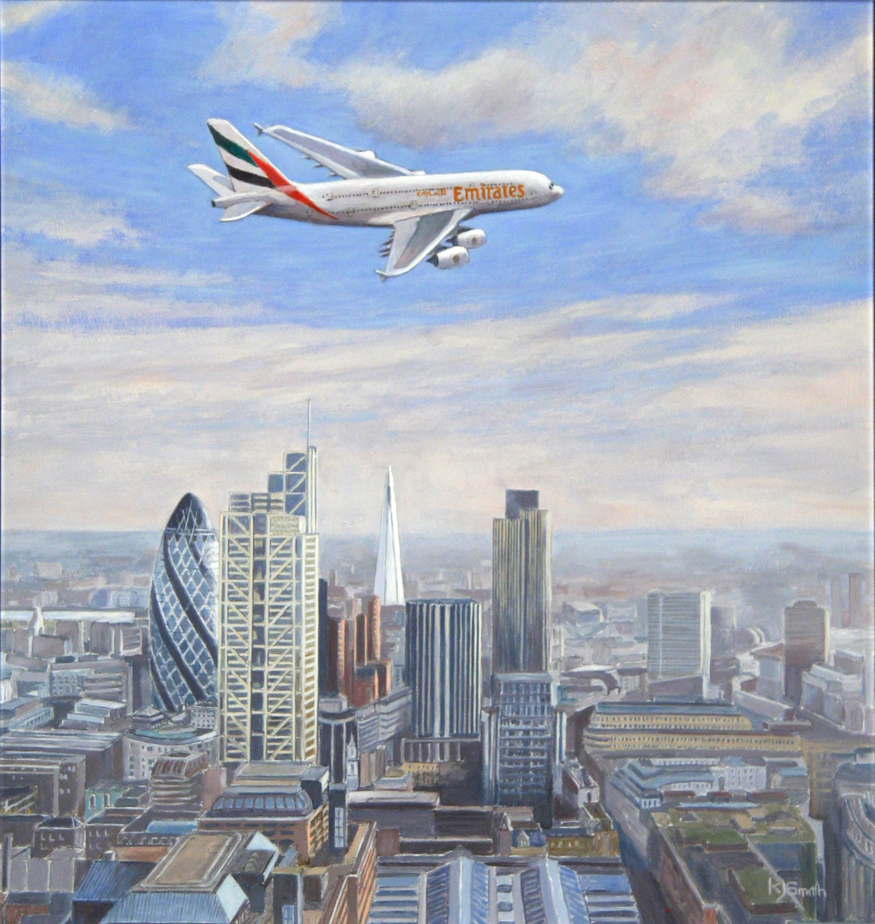 'Biggest over Tallest' by Ken Smith. Courtesy Guild of Aviation Artists.