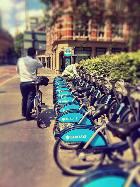 Boris Bikes on Tooley Street, by Laurabot_