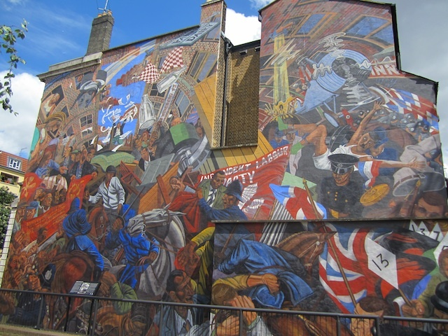 The famous Cable Street mural, showing the battle between local residents and fascist marchers, with the police caught in the middle. This is thought to be London's largest painted mural, with work from several artists.
