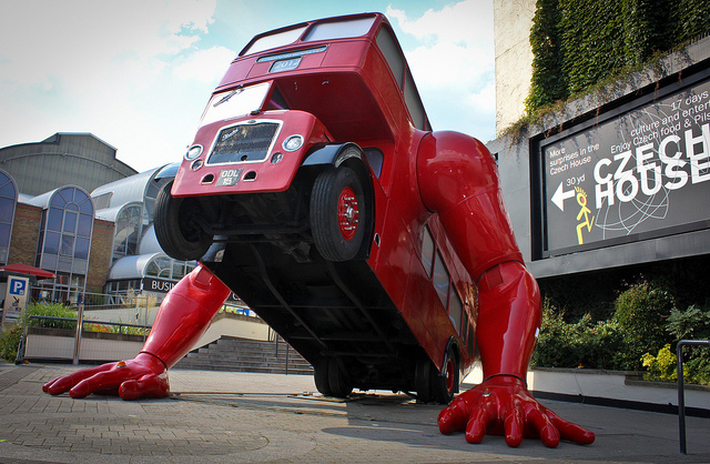 Bus doing push ups outside Czech House in Islington / photo by Pete Woodhead