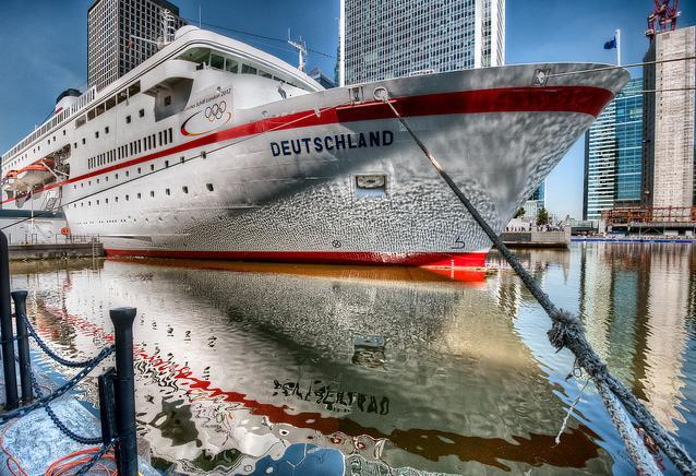 MS Deutschland at West India Dock / photo by Sean Batten